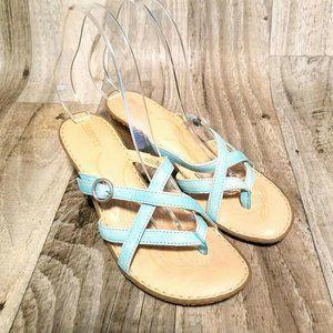 Born Womens CKA10 Sz 7 Aqua Blue Sandals Heels